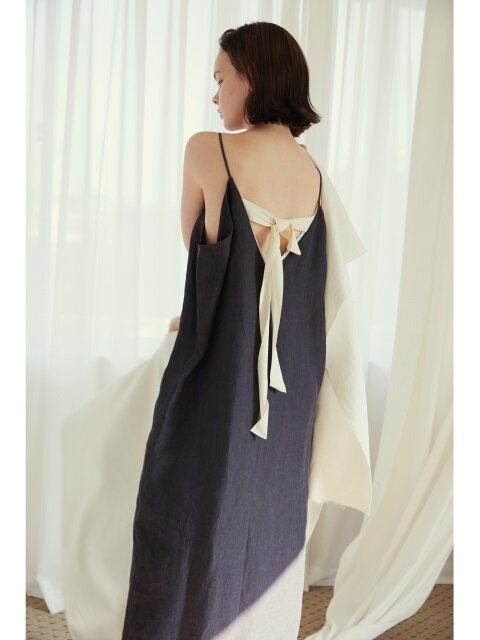 Dress Sleeveless Ribbon Back Linen BK