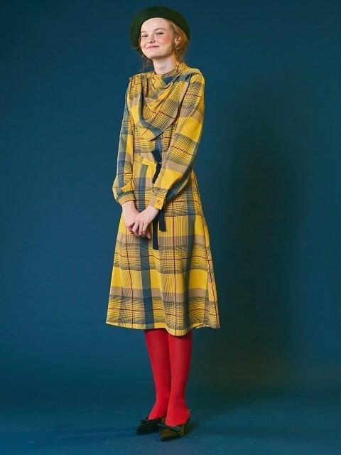 Scarf check dress [yellow]