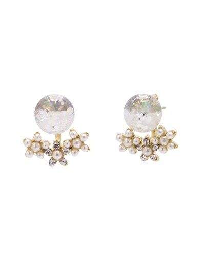 Bouquet 2way Snowball Earrings