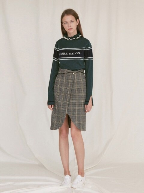 PEARL BUTTON SKIRT_grey