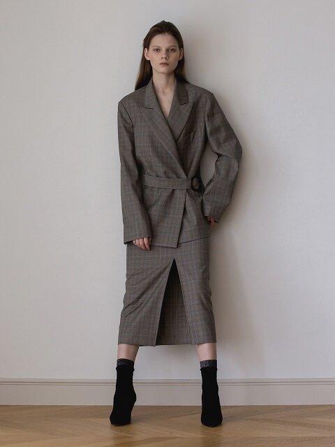 Glen Check Wool Cashmere Skirt (Beige)