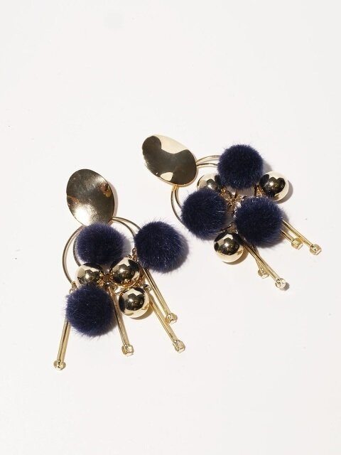 Pompom Gold B Earrings