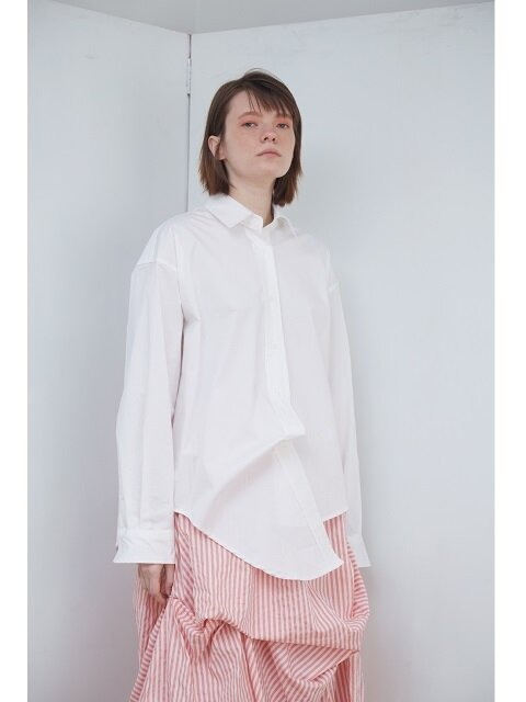 18SS OVER FIT UNBALANCE SHIRT_WHITE