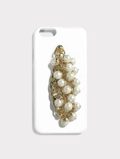 pearl gold chain white case