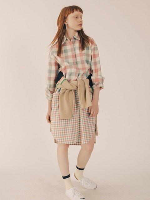 2 PATTERN LONG CHECK SHIRT DRESS [PINK]
