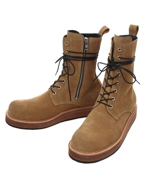 Side Zip Leather Combat Boots(tan)