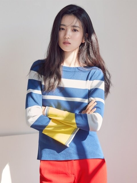 [FRONTROW x RePLAIN] Boat neck Stripe knit