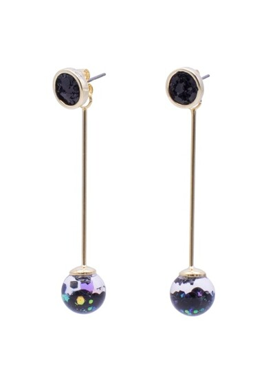 Longstick Snowball Drop Earrings-Circle