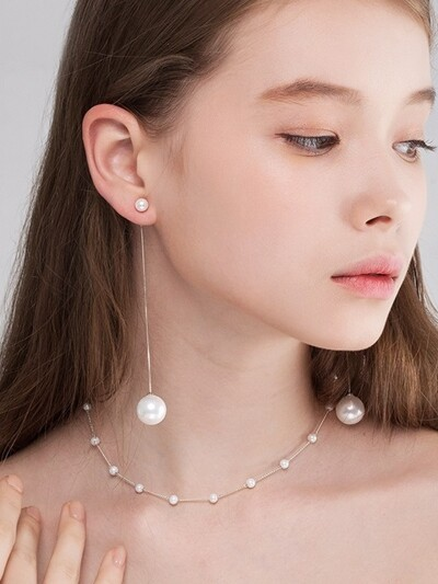 [SILVER 925] NOUVELLE WHITE ROSE POINT PEARL EARRING