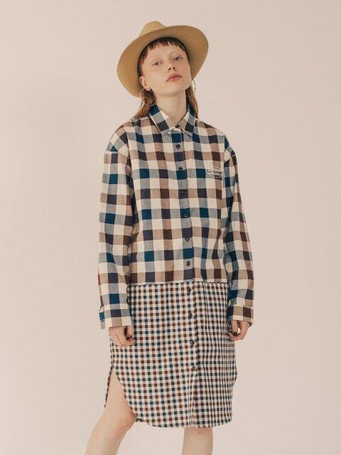 2 PATTERN LONG CHECK SHIRT DRESS [BROWN]