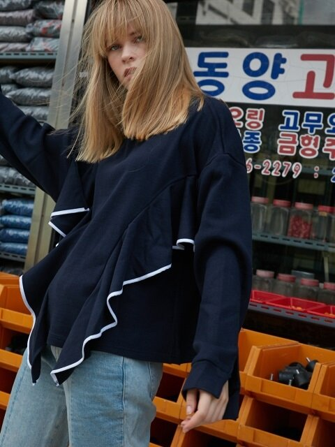 FLOUNCE PIPING KNIT SWEATSHIRT - NAVY