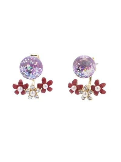 Flower 2way Snowball Earrings