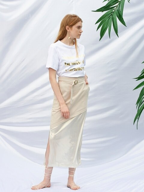 Belted Long Skirt_Beige
