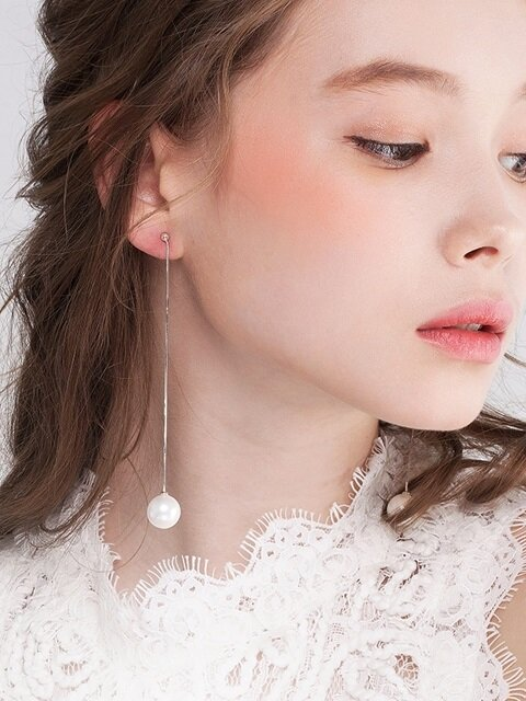 [SILVER 925] NOUVELLE ROSE BALL POINT PEARL EARRING