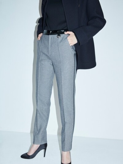 CHECK WOOL TAILORED PANTS
