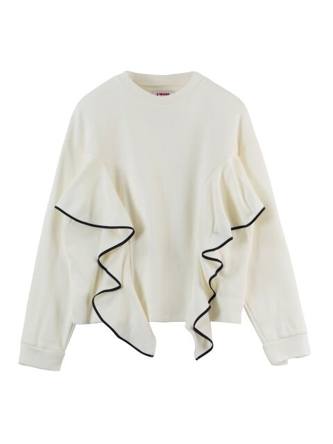 FLOUNCE PIPING KNIT SWEATSHIRT - IVORY