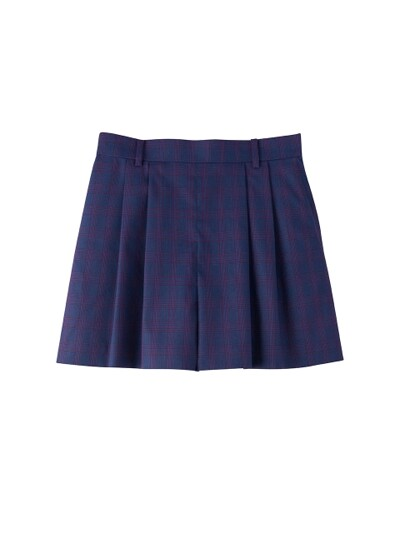CHECK TWO TUCK SHORT_BLUE