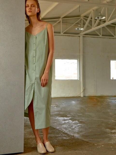 BUTTON DOWN SLIP DRESS - GREEN CHECK