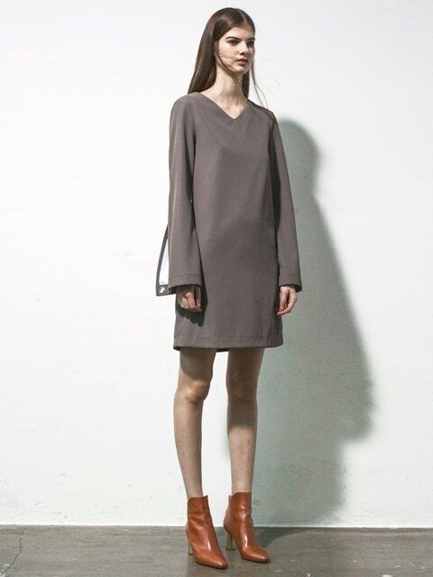 SLIT CUFFS MODERN DRESS atb097 (Khaki)