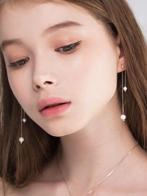 [SILVER 925] ETERNEL WHITE SUCRE PEARL DROP EARRING