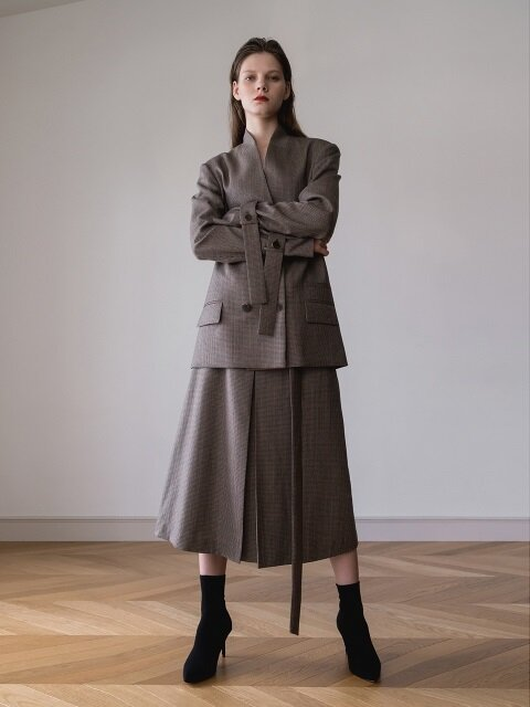 Strap A Line Wool Skirt (Beige Check)