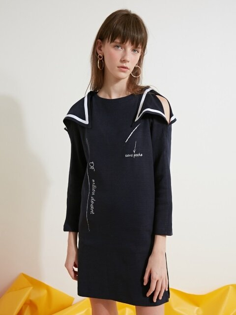 SHOULDER CUT PIPING KNIT ONE-PIECE - NAVY