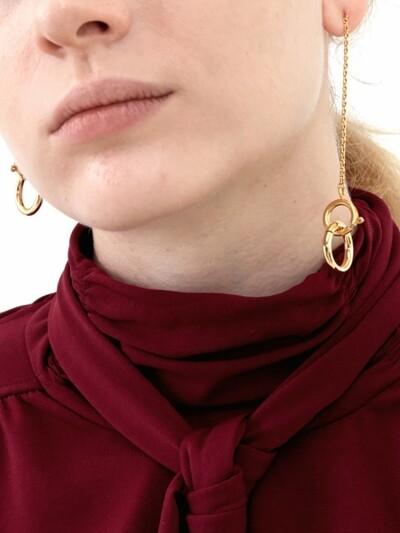Linked Circles Unbalanced Earrings