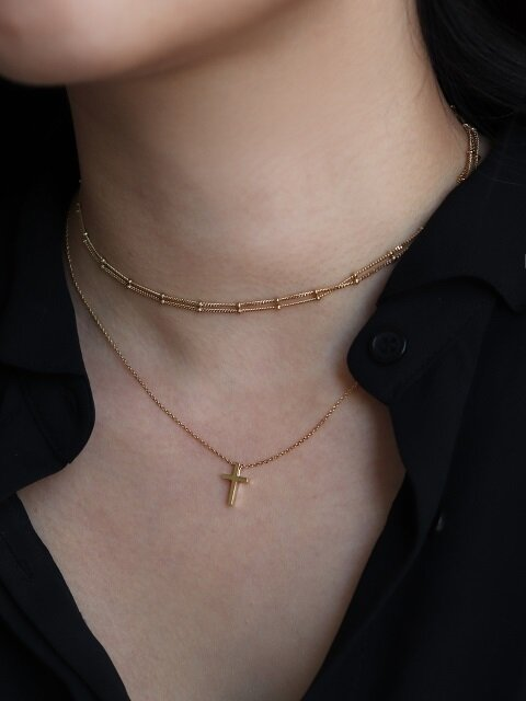 2 Choker / Cross necklace [92.5silver & 14k plating]