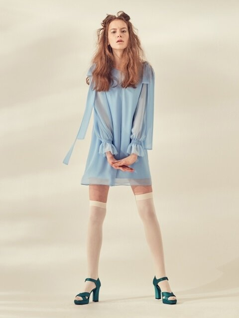 CHIFFON RIBBON DRESS - BLUE/PINK