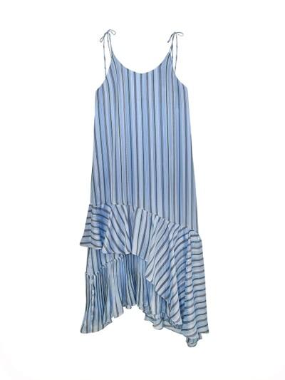 STRIPE LINE PLEAT SLIP DRESS_SKY BLUE
