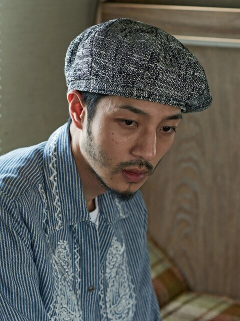 (Linen) octangle beret - WHITE BLACK