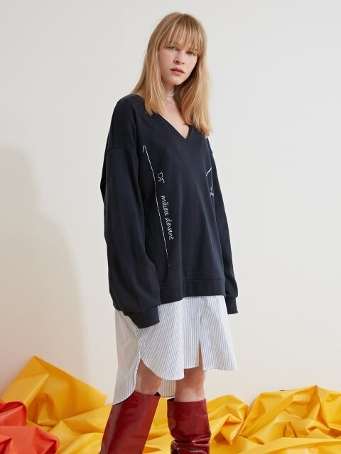 SHIRTS LAYERED KNIT ONE-PIECE - NAVY