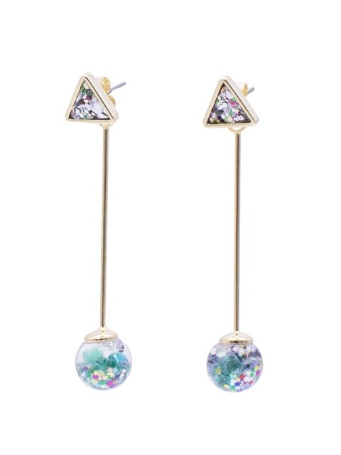 Longstick Snowball Drop Earrings-Triangle