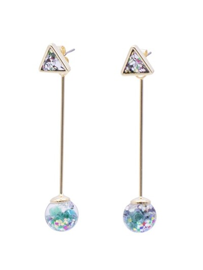 Longstick Snowball Drop Earrings-Triangle