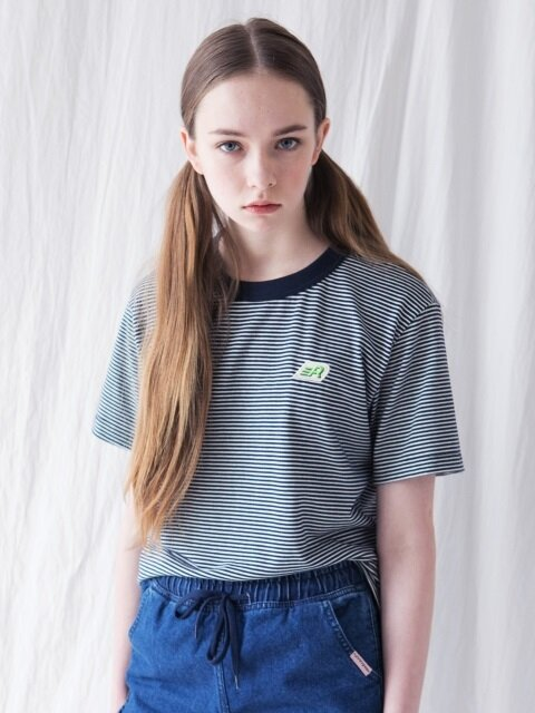 R LOGO STRIPE T-SHIRT [NAVY]