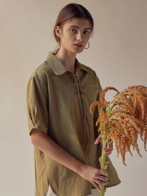 LACE UP LINEN SHIRT[OLIVE KHAKI]
