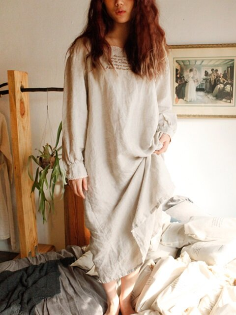 린넨 마가렛 잠옷 : Linen margaret nightdress