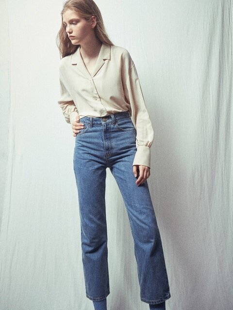 via high waist cropped denim pants