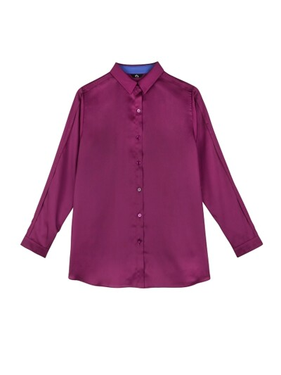 POINT SLEEVES BASIC BLOUSE_PLUM