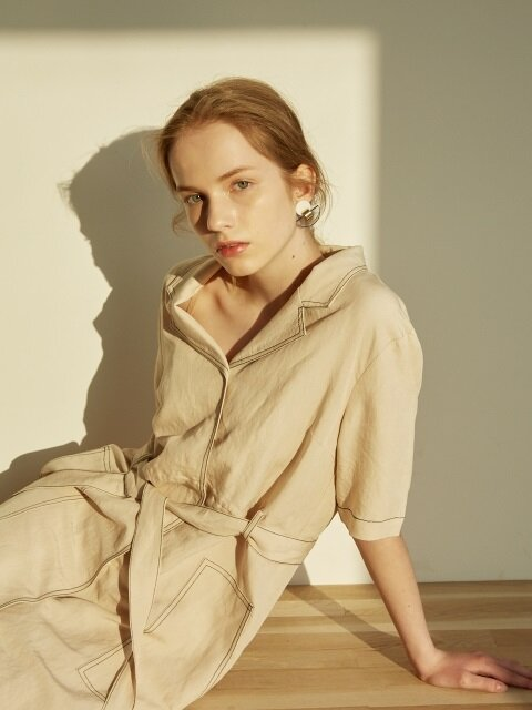 STITCHED LINEN DRESS_L.BEIGE