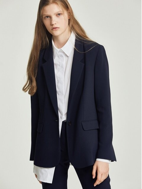 [Drama Collection] Slit Cuffs Tailored Blazer_NAVY