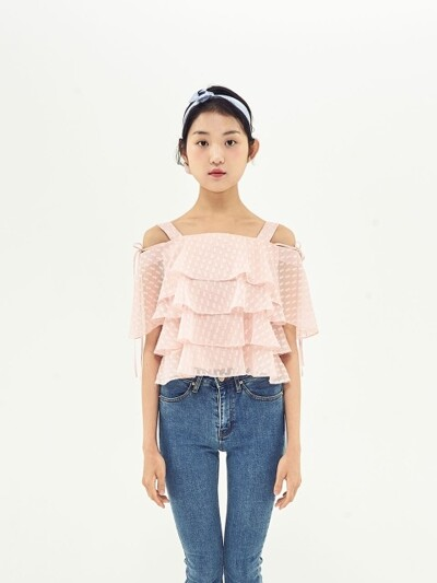 CANCAN PRILL OFF SHOULDER TOP_SALMON PINK