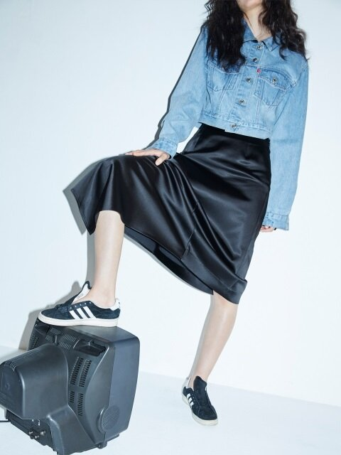 UNBLANCE FRILL SKIRT_BLACK