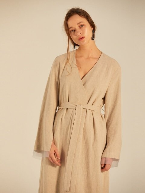 LINEN RAW EDGE ORGANGA DETAILED ROBE_BEIGE