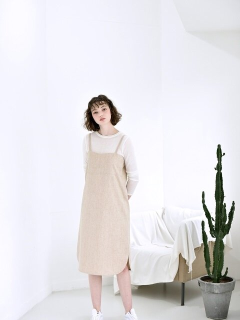 Linen Long Dress - BEIGE