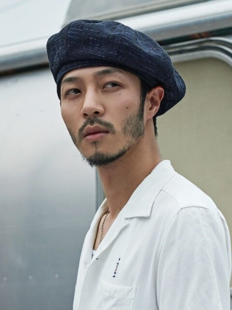 (Linen) octangle beret - BLUE BLACK