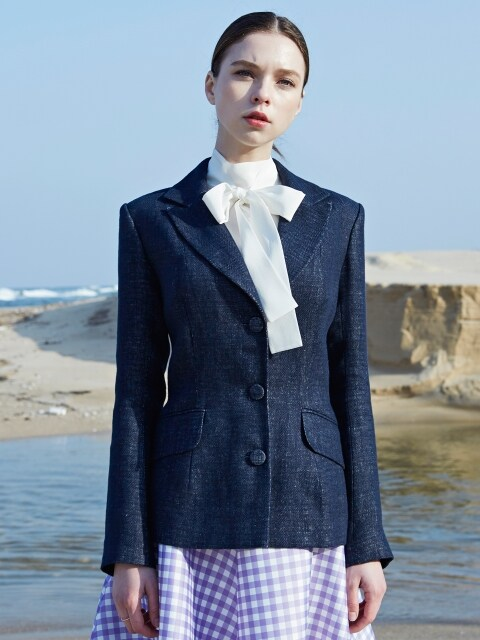 navy linen belle jacket