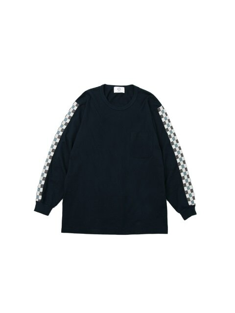 CHECK LINE LONG SLEEVE T-SHIRT navy