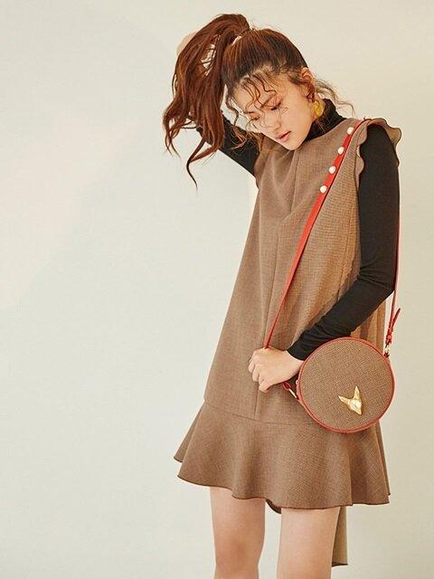 쪼코 체크 미니 드레스 - Brown