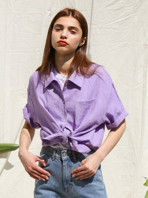 OVERSIZED SHORT SLEEVE SHIRT VIOLET LINEN